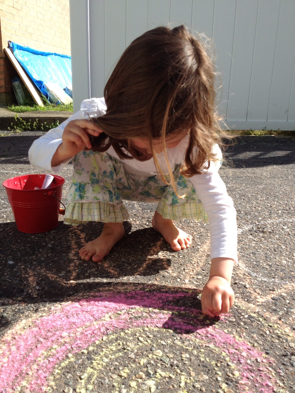 chalk drawing on a sunny day with Seava